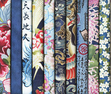 10 BLUE ASIAN ORIENTAL JAPANESE FAT QUARTER QUILT FABRIC: 2 1/2 Yds
