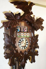 GORGEOUS OLD WORKING LARGE GERMAN BLACK FOREST MUSIC DANCERS WOOD CUCKOO CLOCK!