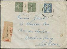 FRANCE Semeuse N°130 sur lettre 1924 en paire avec millésime 4+ N°209 Cote:300€