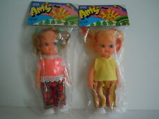 "VINTAGE 2 SMALL HONG KONG BIG EYES DOLLS 1970'S ERA "" LITTLE AMY "" FAIR,CARNIVAL"