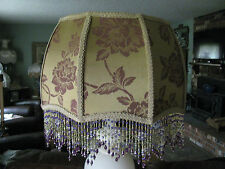 "Victorian French Lg Floor Table Lamp Shade ""Gold Rose""  6"" Beads"