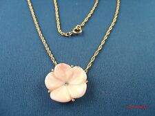 Vintage 70's signed AVON pink moleded plastic PANSY pendant necklace