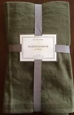 NEW Williams Sonoma Table Runner Washed Damask Olive Green Cotton Linen NWT