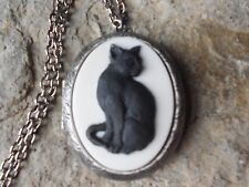 BLACK CAT ANTIQUED SILVER PLATED LOCKET - CAT LOVERS GIFT, WITCH, WICCAN, WICCA
