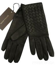 NEW BOTTEGA VENETA LUXURY LADIES BLACK INTRECCIATO SOFT NAPPA LEATHER GLOVES 7.5