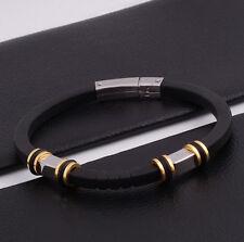 """Unisex Men Women's Stainless Steel Rubber Silicone Bracelet black 8"""" G20"""
