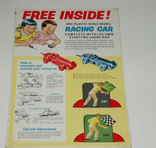 1960's Post Cereal Box back with Race Car offer