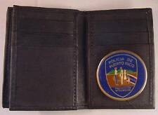 POLICE of PUERTO RICO BLACK SOFT LEATHER 20 CREDIT CARD WALLET ID FLAP