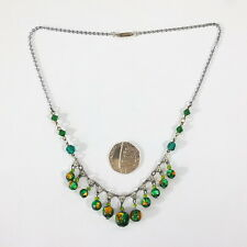 Stunning Antique Art Deco Green Foil Glass Bead Drop Necklace