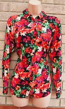 G21 ALL BUTTONED MULTI COLORED FLORAL LONG SLEEVE T SHIRT TOP TUNIC BLOUSE 12 M