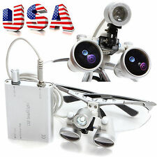 Dental Surgical Binocular Loupes 3.5X420mm Optical Glass + LED Head Light Lamp