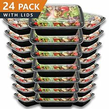 Food Meal Prep Bento Lunch Box Storage Container 24 Pack Plastic 1 Compartment