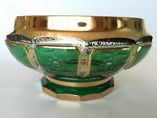 GORGEOUS ANTIQUE MOSER CABOCHON BOHEMIAN GLASS GOLD ON EMERALD GREEN VASE BOWL