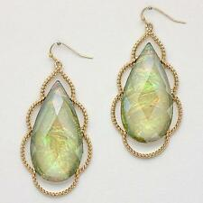 Large Green Gold Teardrop Iridescent Gemstone Dangled Earrings