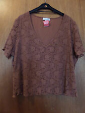 """New Pretty Lacey Top Burnt Orange By Rose Pearl Size 22 - 24 Chest 44"""" - 46"""""""