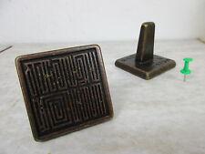 alter Bronze Stempel mit Schriftzeichen Petschaft old Seal Stamp  China vor 1950