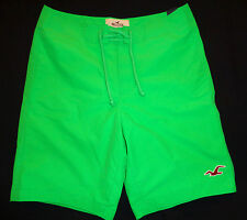 MENS HOLLISTER GREEN LINED SWIM BOARD SHORTS SIZE S