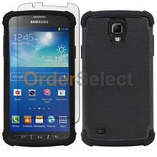 Hybrid Rugged Rubber Case+Screen Guard for Samsung Galaxy S4 GS4 Active Black
