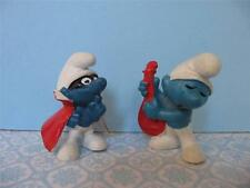 VINTAGE 1968 SMURF PVC Figure Lot of 2 Bandit Mask/Red Musical Instrument