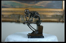 Signed: Milo Bronze Statue Skull Skeleton thinker sculpture