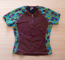 womens M bike cycle jersey Louis Garneau leaves brown green blue NICE!