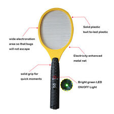 New Electric Fly Swatter Bug Zapper Mosquito Killer Racket 17.3* 6.3'' Good Hot