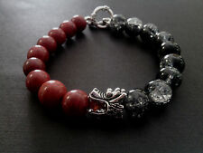 Dragon Head Blood Stone Black Crackle Toggle Clasp Baby Chrome King Bracelet