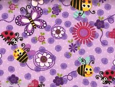 AE Nathan ~ Purple Bee Ladybug Butterfly Flower ~ 100% Cotton Flannel Fabric BTY