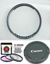 UV PL FLD Filter + Adapter Ring + Lens Cap For Canon SX1 IS SX1IS Camera U&S