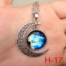 New arrival  Colorful Galaxy Glass Hollow Moon Shape Pendant Tone Necklace j95