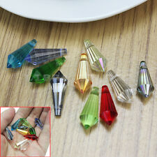 New 10pcs Mixed Faceted Colorful Crystal Glass Teardrop Pendant Beads 8x20mm