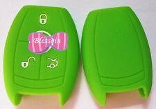 GREEN SILICONE CAR SMART KEY COVER SUITS MERCEDES BENZ 3 BTN 11 CLR RD