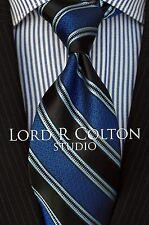 Lord R Colton Studio Tie - Black & Royal Blue Stripe Woven Necktie - $95 Retail