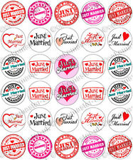 30 x Just Married Wedding Party Edible Rice Wafer Paper Cupcake Toppers