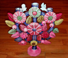 Gorgeous-Vintage-Colorfull-Mexican Folk Art Tree of Life-Candlestick Candelabra!