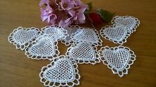 10 Vintage Applique Ivory Hearts Guipure Lace Motifs Wedding Crafting