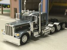 "1/64 DCP GUN METAL GRAY 389 Peterbilt Tri-Axle w/36"" Sleeper"
