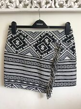 Topshop Black and Ivory Aztec Skirt, UK Size 10, Tall New