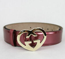NEW  GUCCI Patent Leather Belt Heart Shaped GG Buckle 105/42 Pink 245856 6414