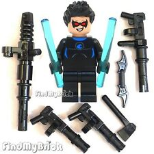 BM049W-B Lego Batman Blue Nightwing Minifigure with Custom Torso & Mess Weapons