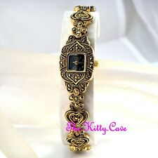 Edwardian Deco Vintage Arabesque Goth Heart Gold Pl Marcasite Ladies Dress Watch
