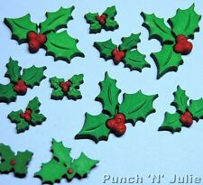 HOLLY JOLLY CHRISTMAS - Green Leaves Red Berries Plastic Craft Embellishments