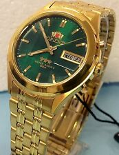 Reloj Orient Green Dial Day/Date Men's Automatic Watch Cut Glass  Gold  Tone  6