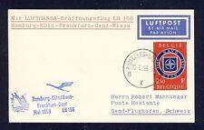 50766) LH FF Deutschland - Genf Schweiz 24.5.59, Karte ab Belgien, NATO