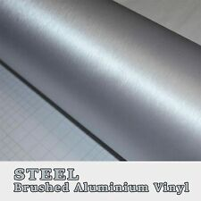Silver Steel Brushed Aluminium Vinyl Vehicle Wrap Adhesive Bubble Free Graphic