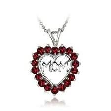 Sterling Silver Created Ruby MOM Open Heart Necklace