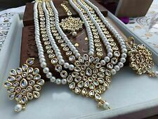 Bollywood Style Bridal Wedding Fashion Jewelry Indian Kundan Pearl Necklace Set