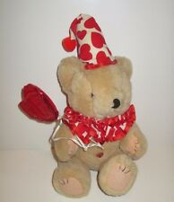 """ADORABLE 10"""" VALENTINE'S DAY JOINTED TEDDY BEAR  CLOWN HEART DESIGN COLLAR & HAT"""