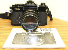 Original Canon F-1 35mm SLR Film Camera w/ Manual and Canon 50mm F/1.8 Lens