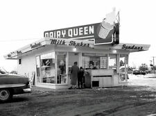 """5x7"""" photo DAIRY QUEEN DINER BURGER JOINT 50'S CHEV. MOTHER SON AT WINDOW"""